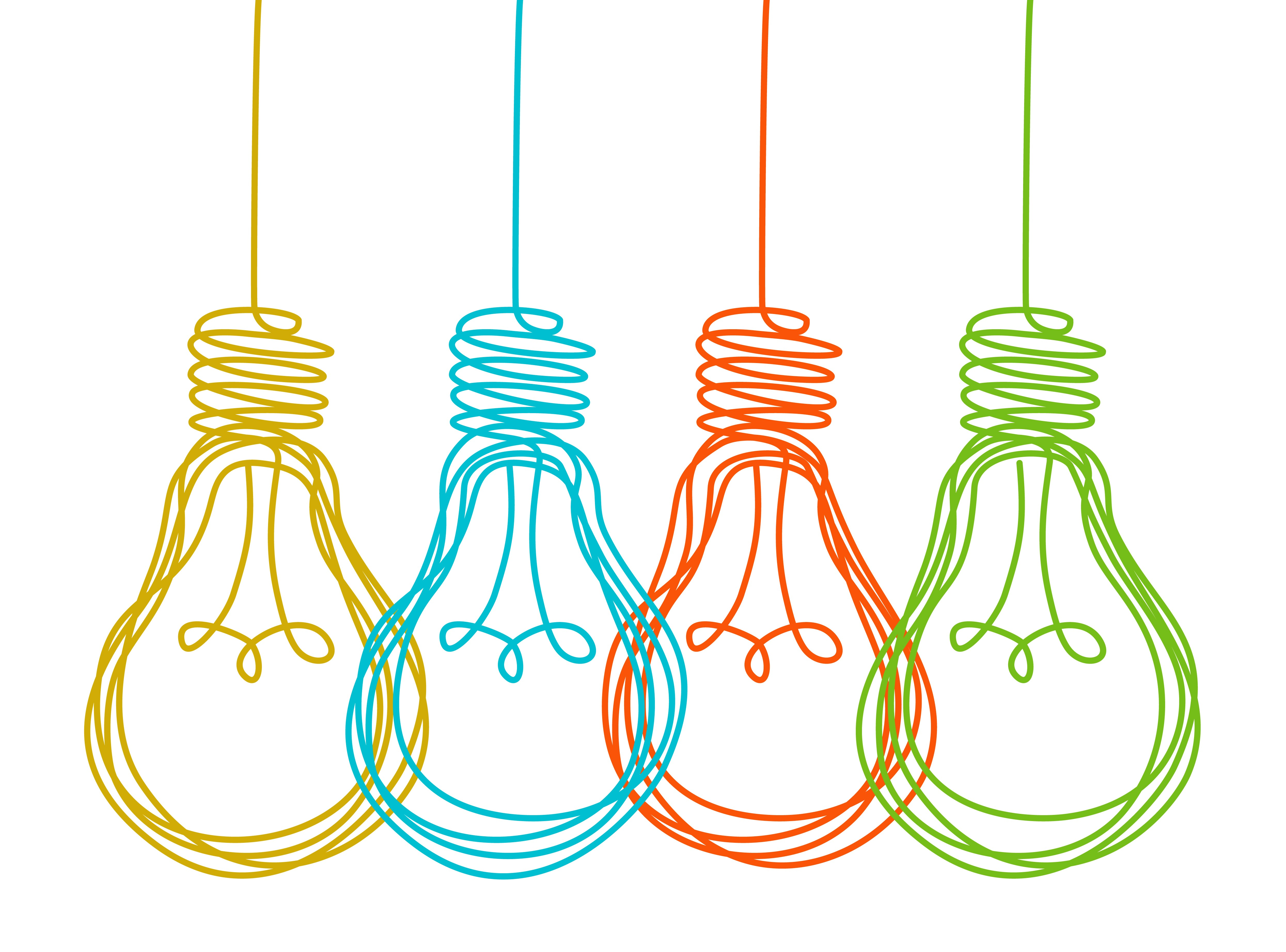 Colourful Light Bulbs Hanging